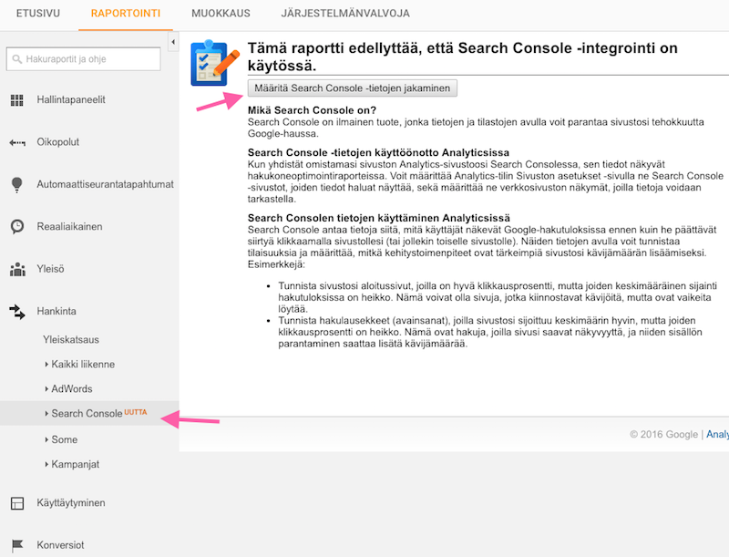 Liitä Google Search Console Google Analytics -tiliisi